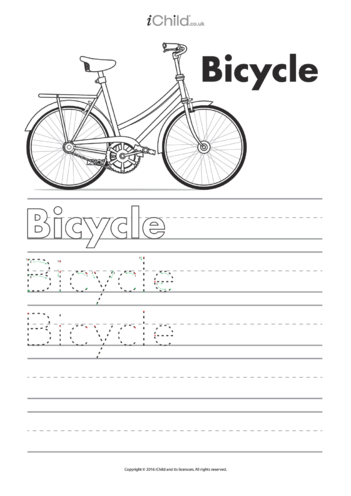 Thumbnail image for the Bicycle Handwriting Template activity.