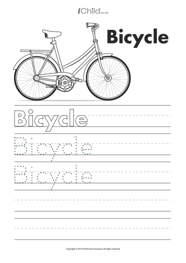 Bicycle Handwriting Template