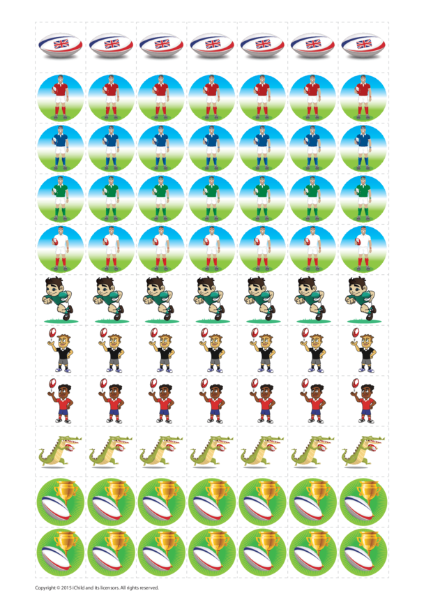 Rugby Reward Chart Stickers