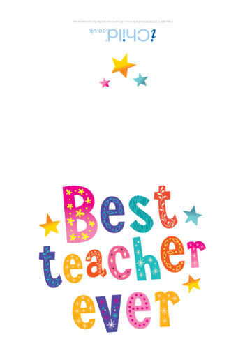 Thumbnail image for the Best Teacher Ever Card activity.