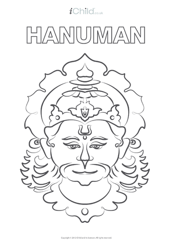 Thumbnail image for the Hanuman Colouring in Picture activity.