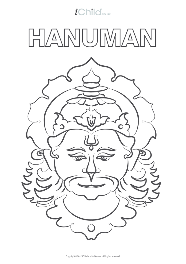 Hanuman Colouring in Picture