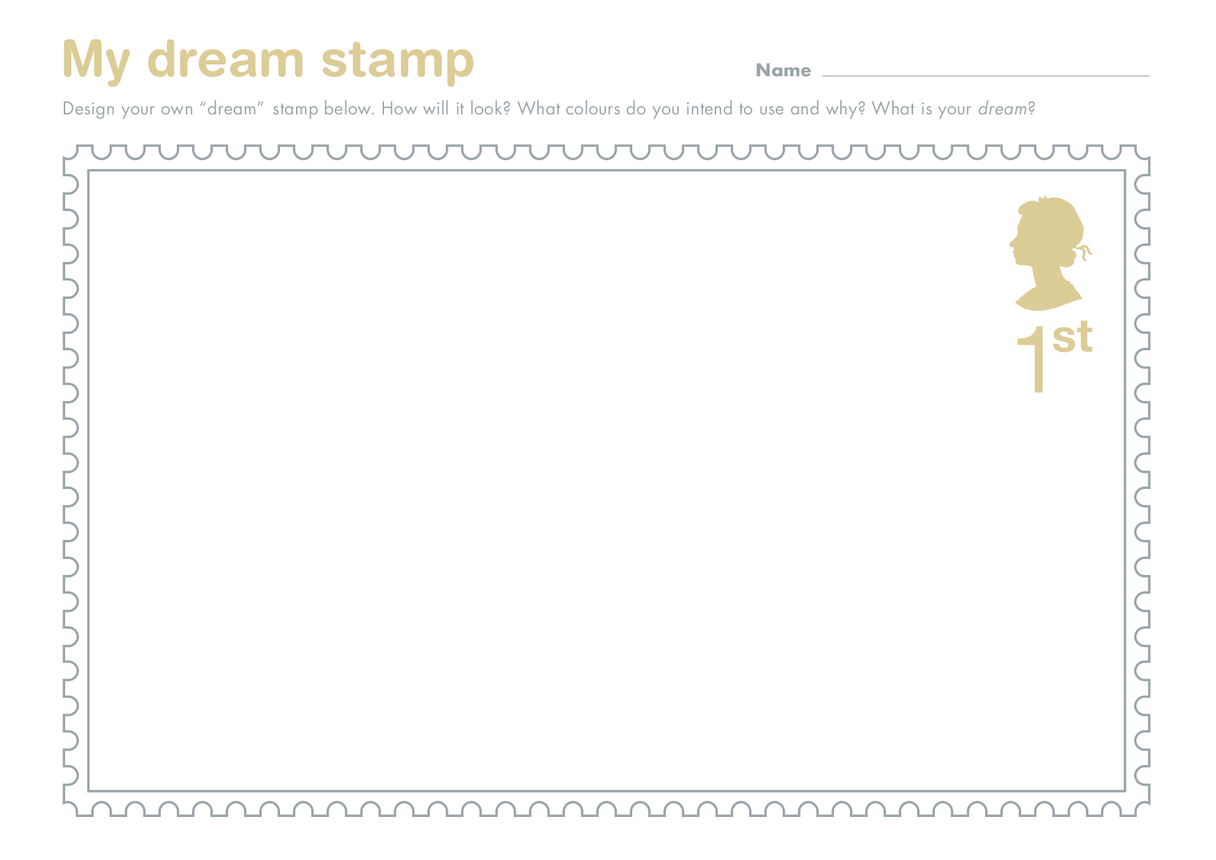 Secondary 3) Stamping my Mark- My Dream Stamp Drawing Template (Queen's Head)