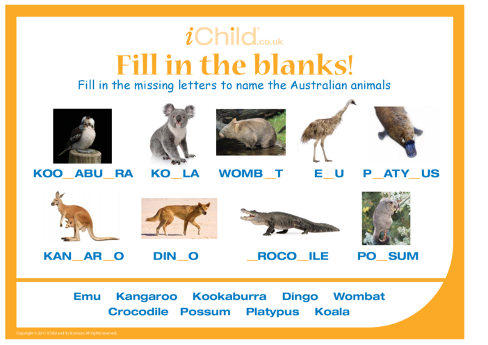 Thumbnail image for the Fill in the Blanks - Australian Animals activity.