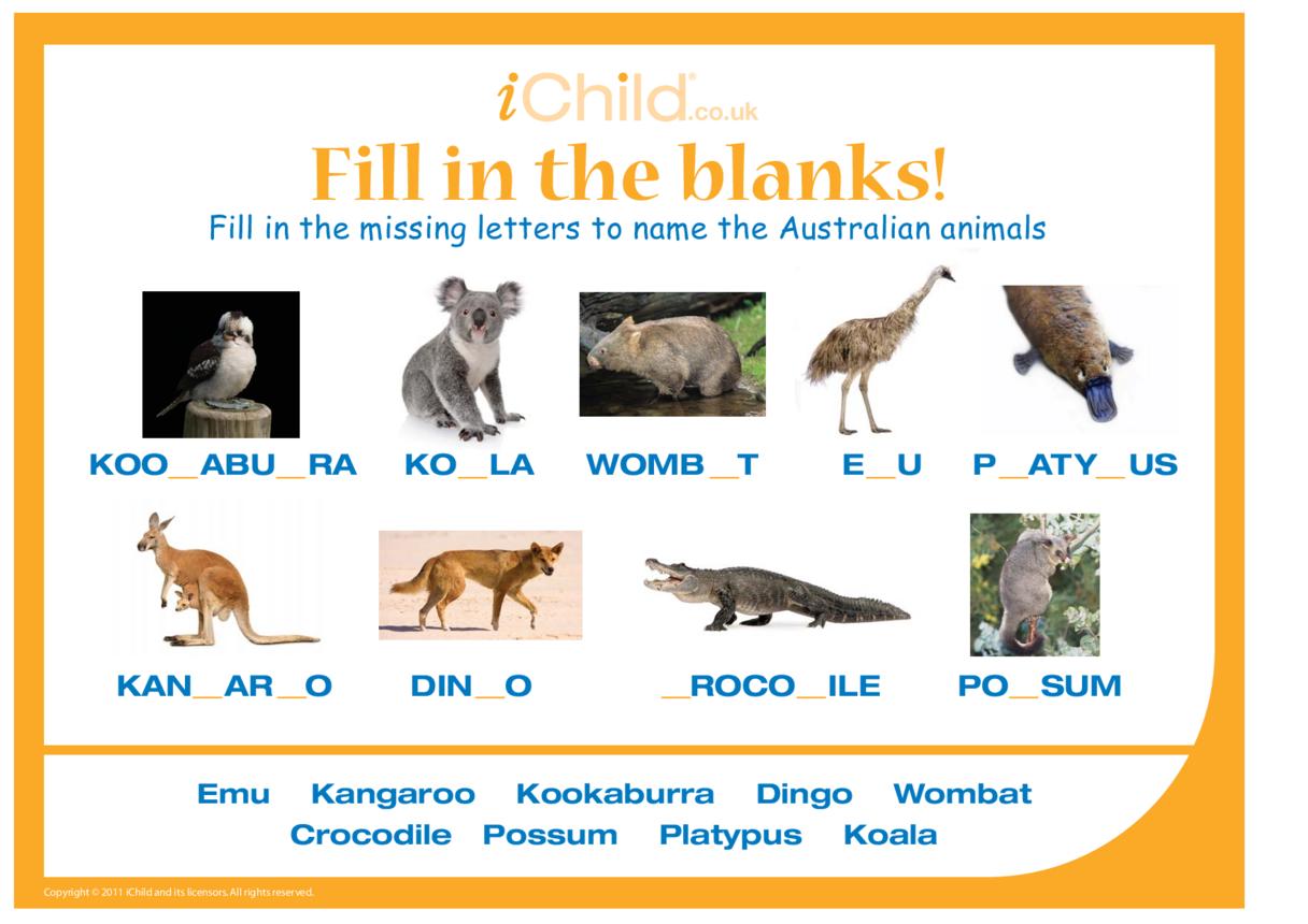 Fill in the Blanks - Australian Animals