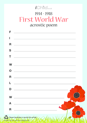 Thumbnail image for the First World War Acrostic Poem activity.