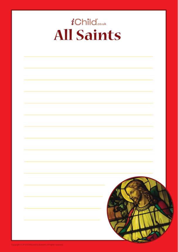 All Saints' Day Lined Writing Paper Template