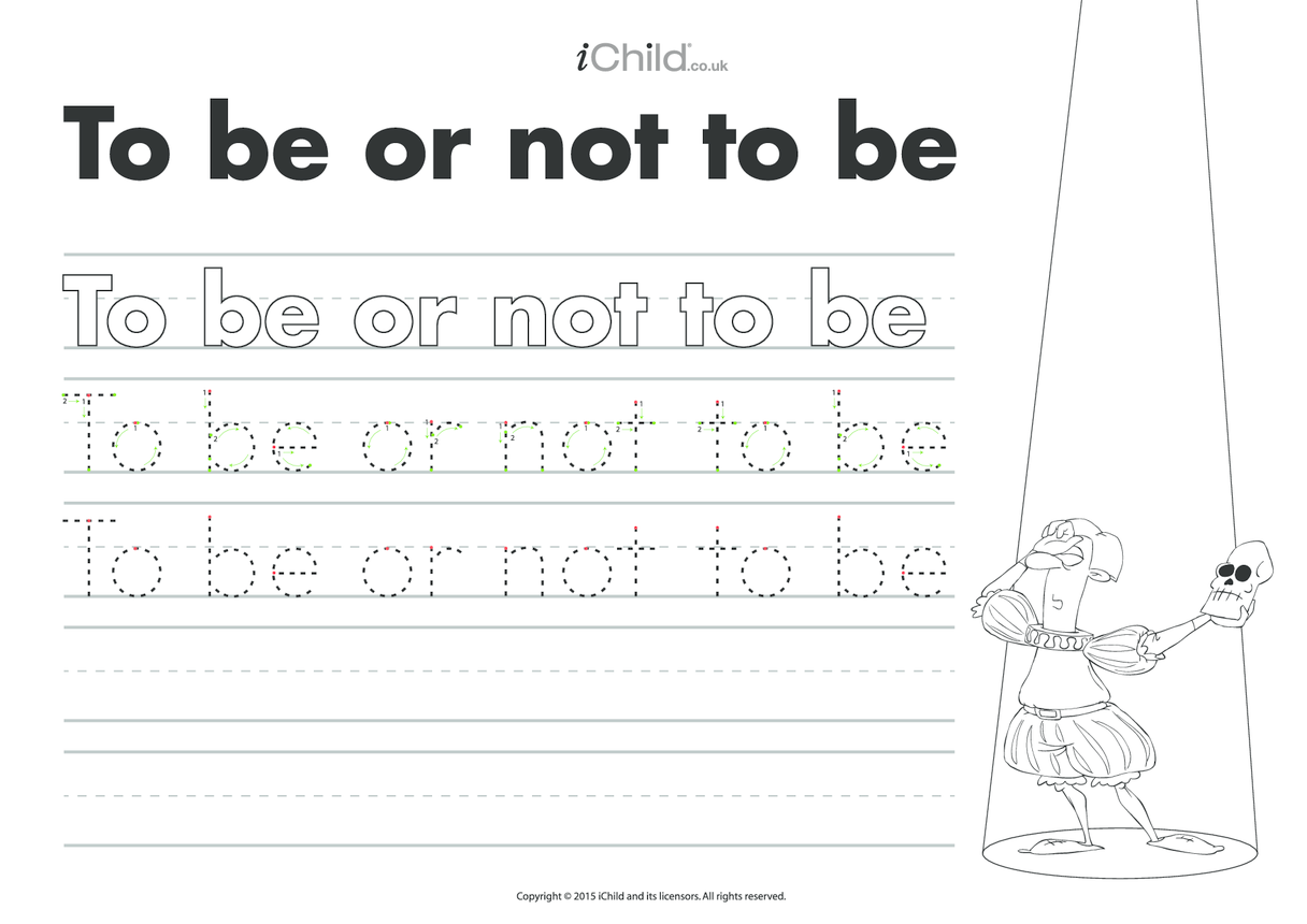 To Be or Not To Be: Handwriting Practice Sheet