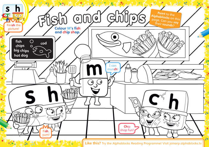 Thumbnail image for the Alphablocks Colouring in Activity activity.