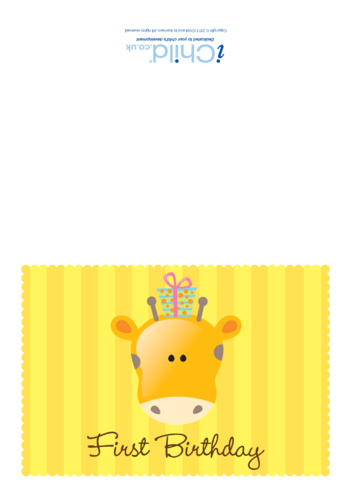 Thumbnail image for the First Birthday Card - Giraffe activity.