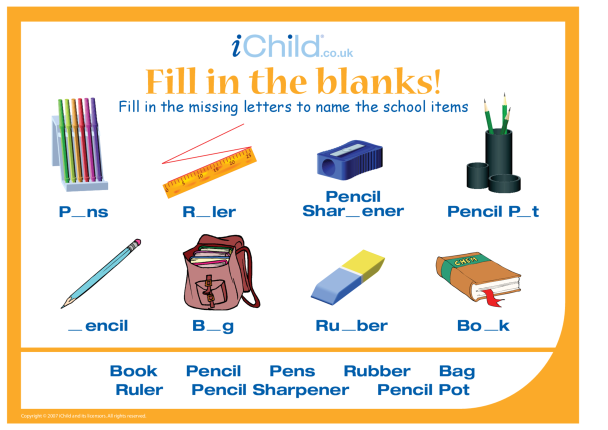 Fill in the Blanks - School items