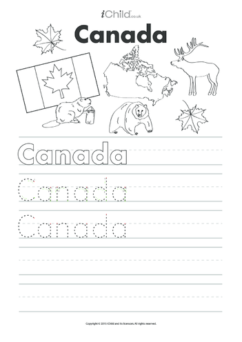 Thumbnail image for the Canada Day Handwriting Practice Sheet activity.