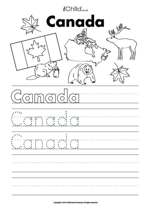 Canada Day Handwriting Practice Sheet