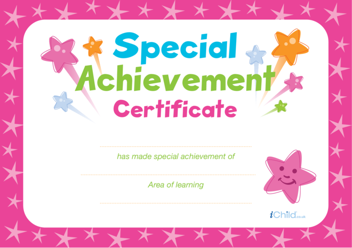 Thumbnail image for the Special Achievement Certificate (pink) activity.