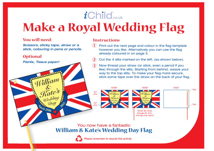Thumbnail image for the Royal Wedding Make a Flag Craft: William & Kate activity.