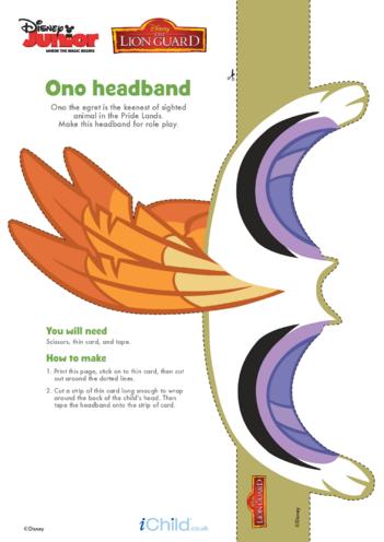 Thumbnail image for the The Lion Guard: Ono Headband- Disney Junior activity.