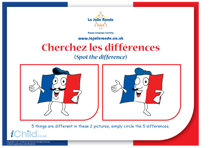 Thumbnail image for the French Flag Spot the Difference activity.