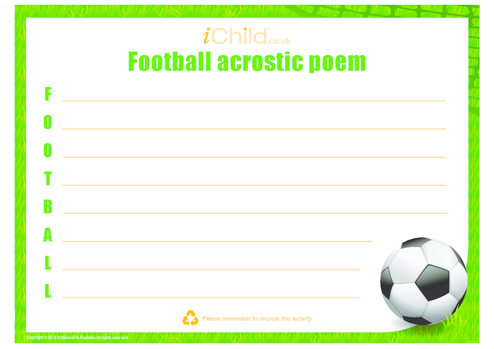 Thumbnail image for the Football Acrostic Poem activity.