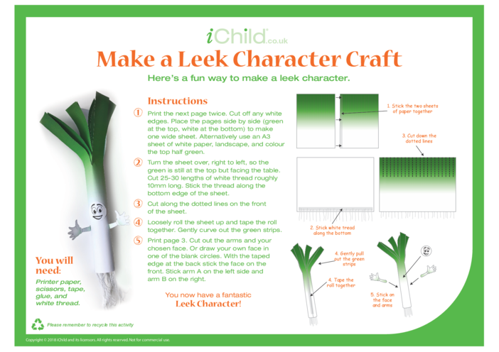 Thumbnail image for the Make a Leek Character Craft activity.