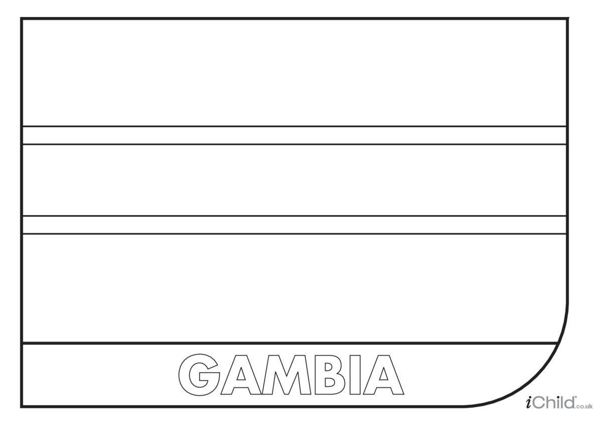 The Gambia Flag Colouring in Picture (flag of The Gambia)