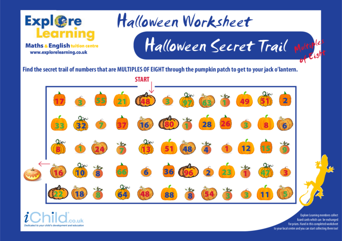Thumbnail image for the Halloween Maths- Multiples of Eight activity.