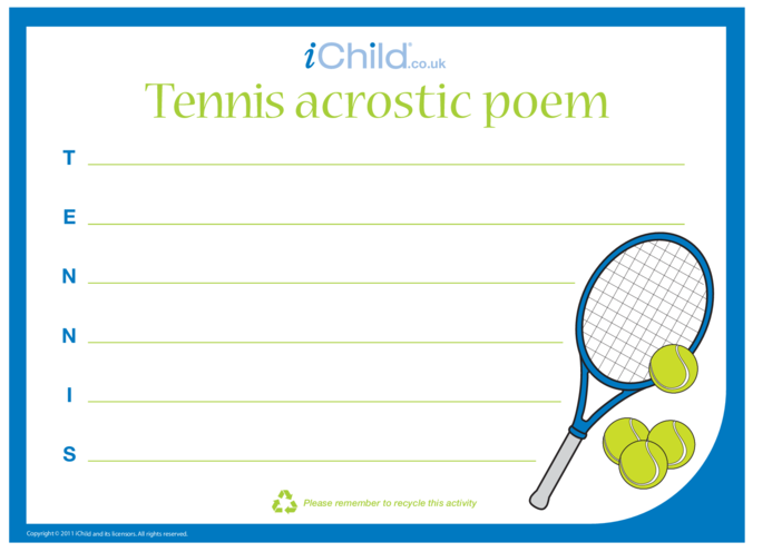 Thumbnail image for the Tennis Acrostic Poem Template activity.
