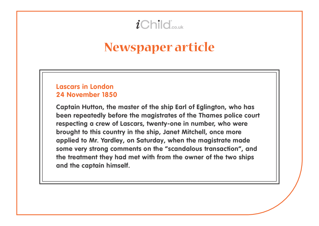Lascars Newspaper article: 1850 Lascars in London