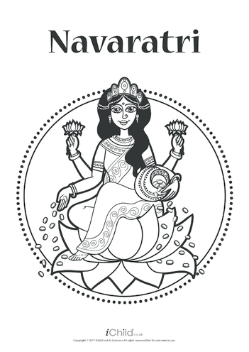 Thumbnail image for the Navaratri Poster (black & white) activity.