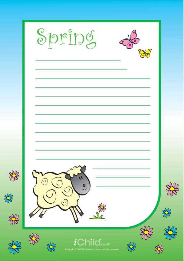 Spring Lined Writing Paper Template