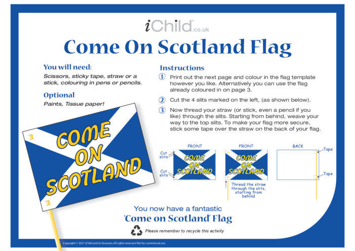 Thumbnail image for the Come on Scotland! Make a Flag activity.