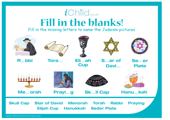 Thumbnail image for the Fill in the Blanks - Judaism activity.
