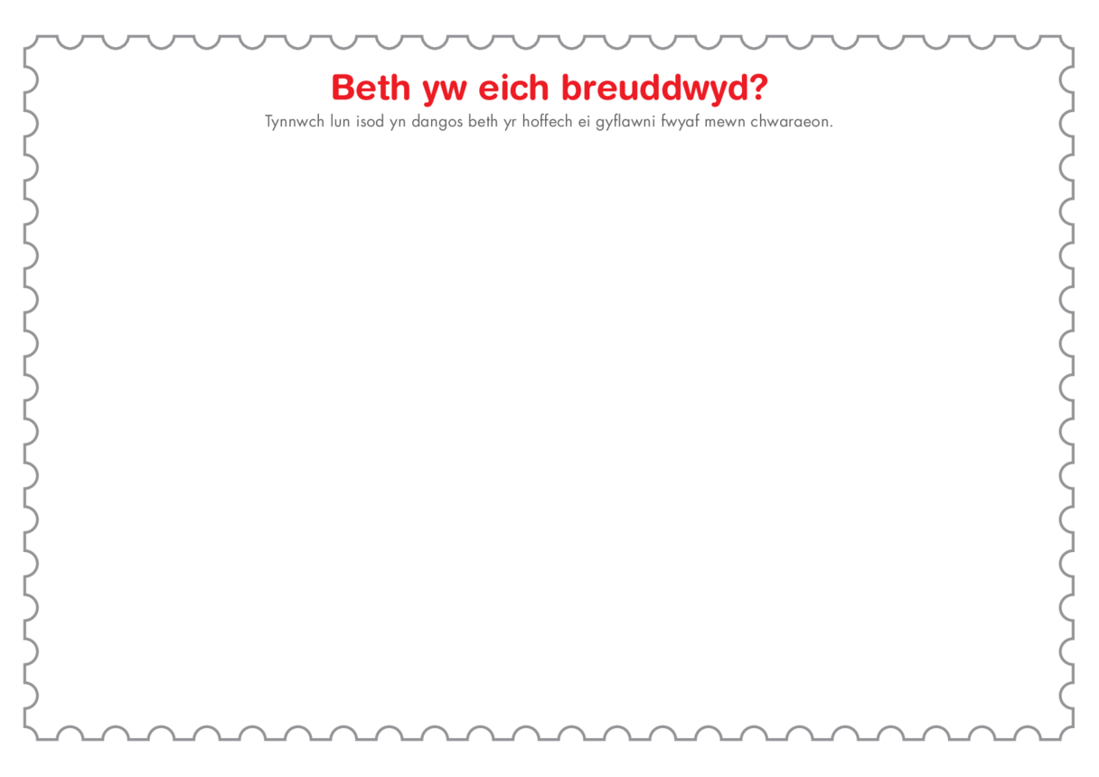 Welsh Language Primary 1) I Have a Dream Template (Drawing)