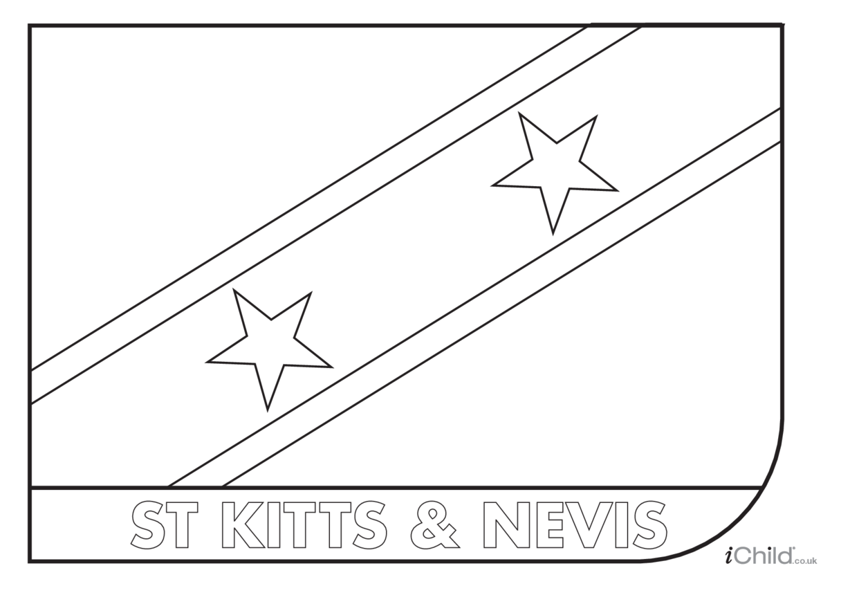 Saint Kitts & Nevis Flag Colouring in Picture (flag of Saint Kitts and Nevis)