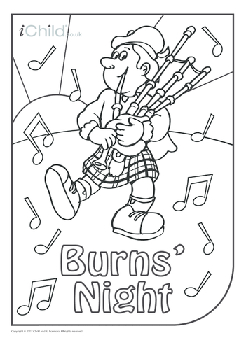 Thumbnail image for the Burns' Night Colouring in picture activity.