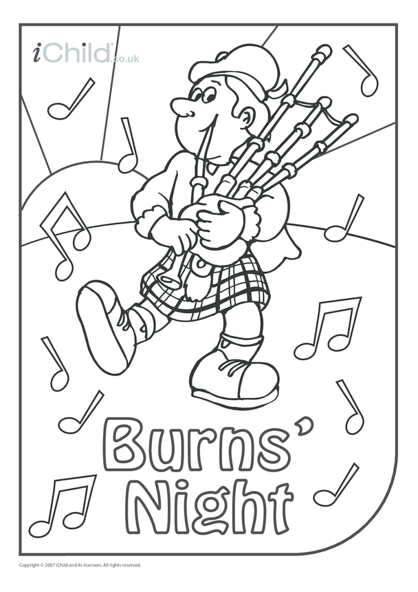 Burns' Night Colouring in picture
