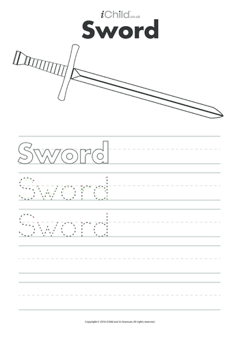 Thumbnail image for the Sword Handwriting Practice Sheet activity.