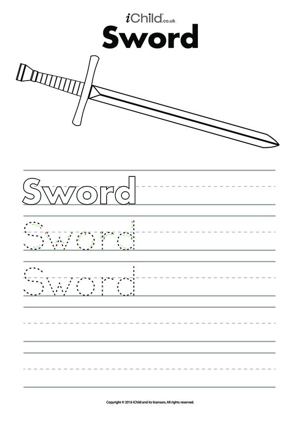 Sword Handwriting Practice Sheet
