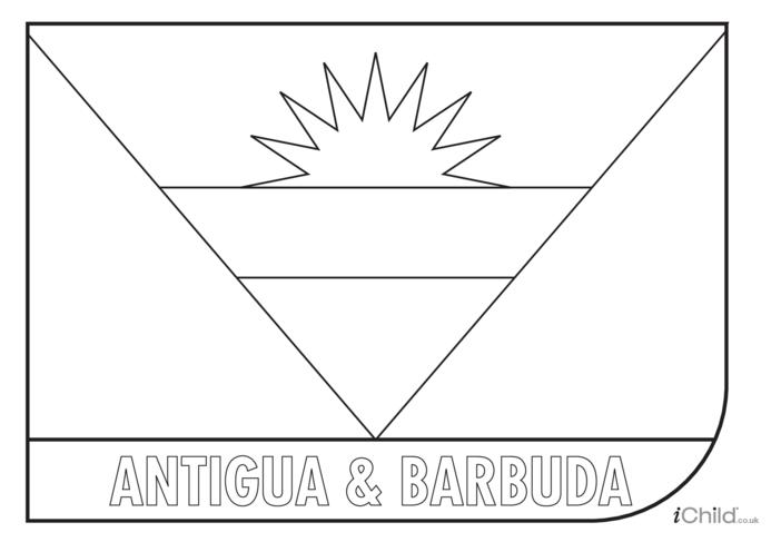 Thumbnail image for the Antigua & Barbuda Flag Colouring in Picture (flag of Antigua & Barbuda) activity.
