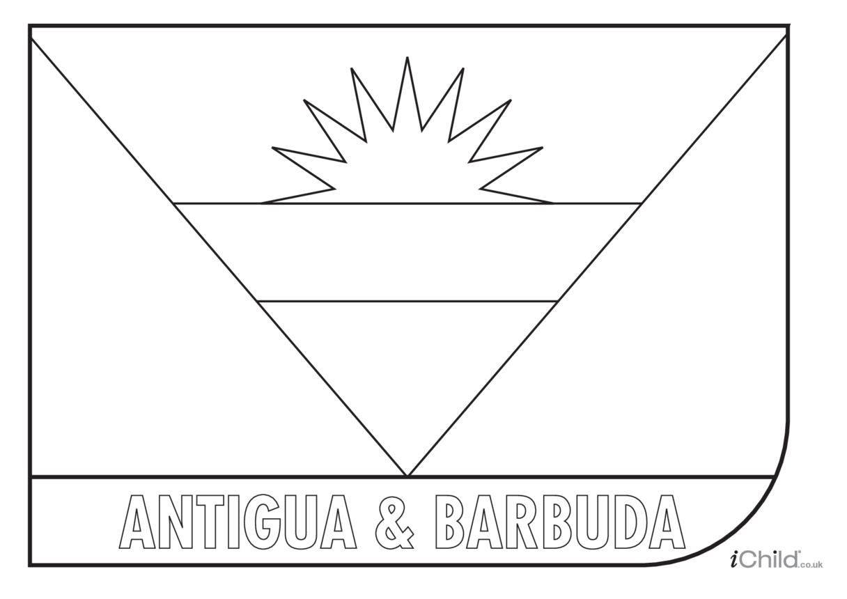Antigua & Barbuda Flag Colouring in Picture (flag of Antigua & Barbuda)
