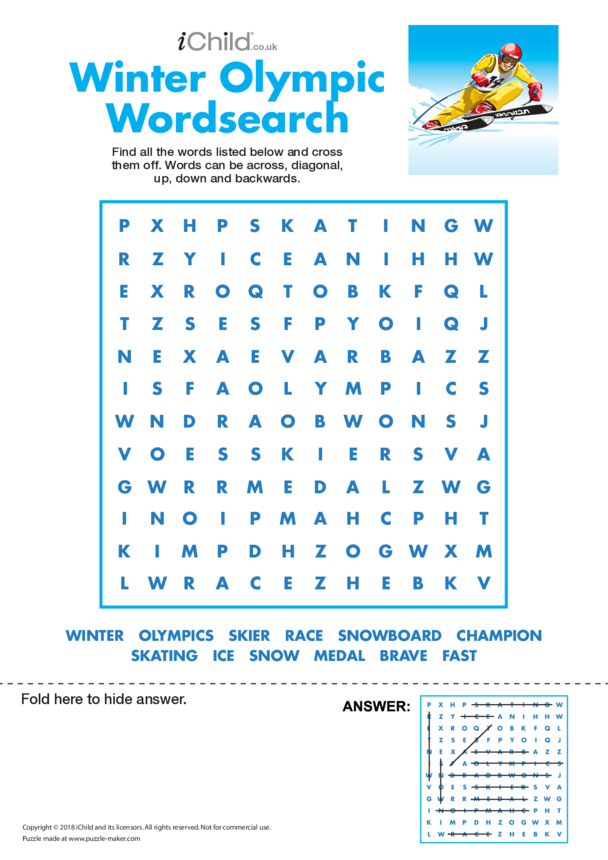 Winter Olympic Wordsearch