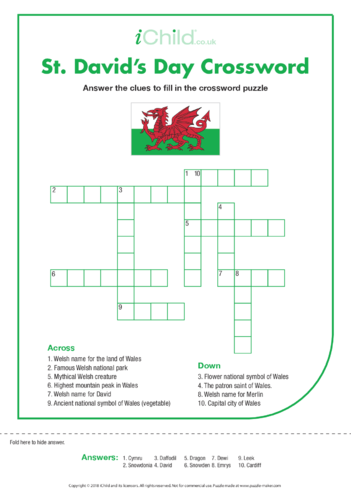 Thumbnail image for the St. David's Day Crossword activity.