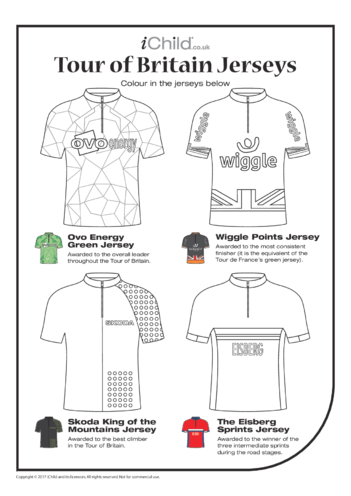 Thumbnail image for the Tour of Britain Jerseys Colouring in Picture activity.