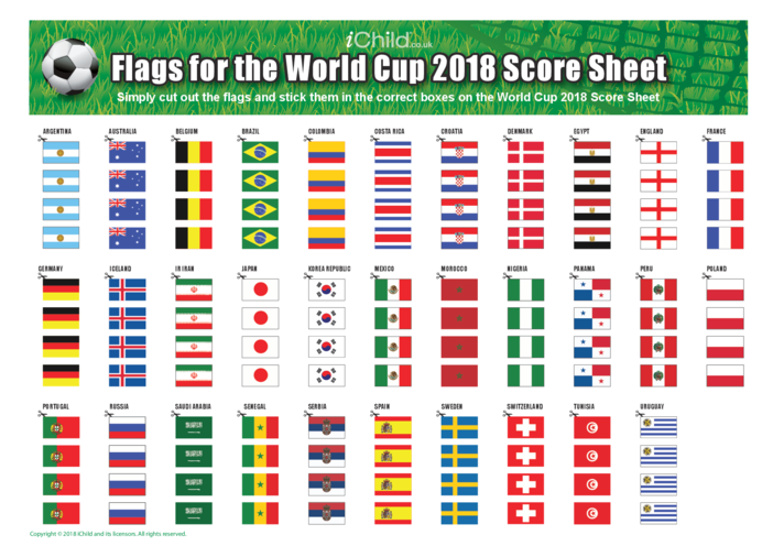 Thumbnail image for the World Cup 2018 Score Sheet Flags activity.