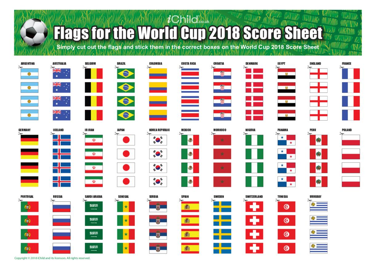 World Cup 2018 Score Sheet Flags