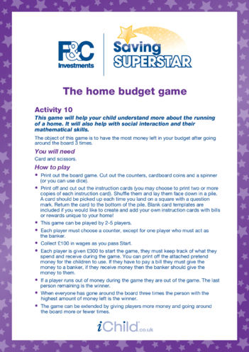Thumbnail image for the 7-11 years (ten) Home budget game activity.
