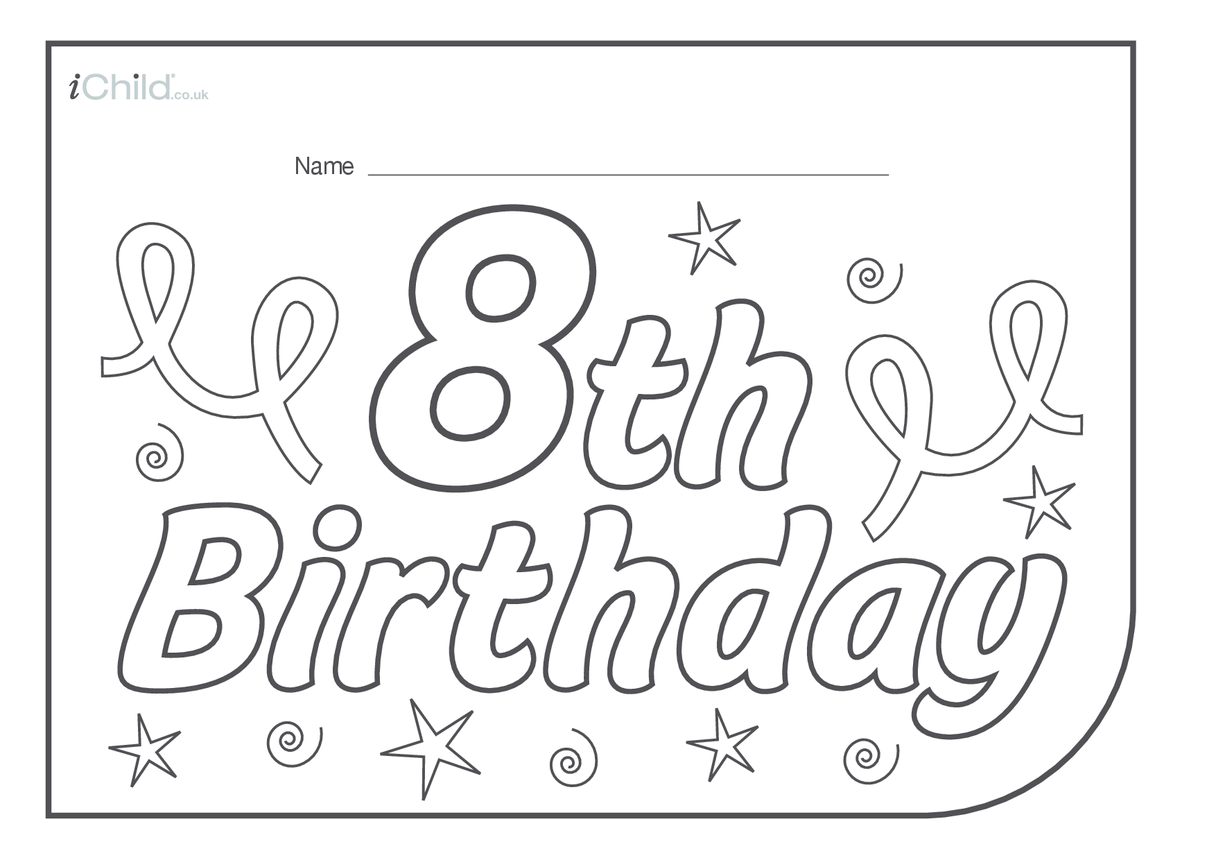 Birthday Party Place Mats for 8 year old 8th birthday