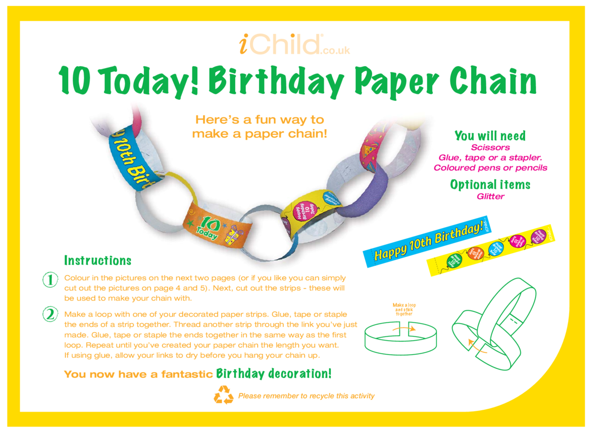 Birthday Party Decoration Paper Chain for a 10 year old's 10th birthday