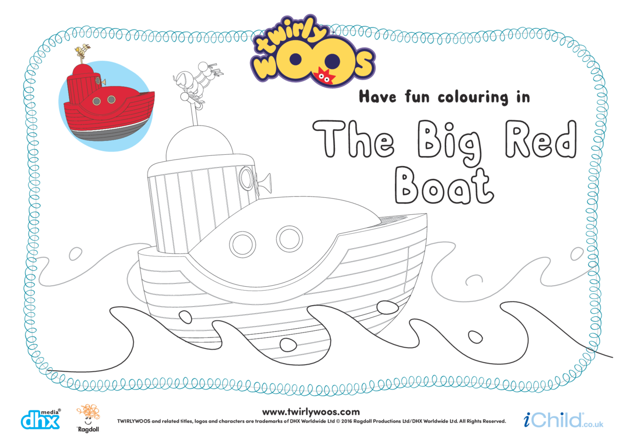 The Big Red Boat Colouring in Picture