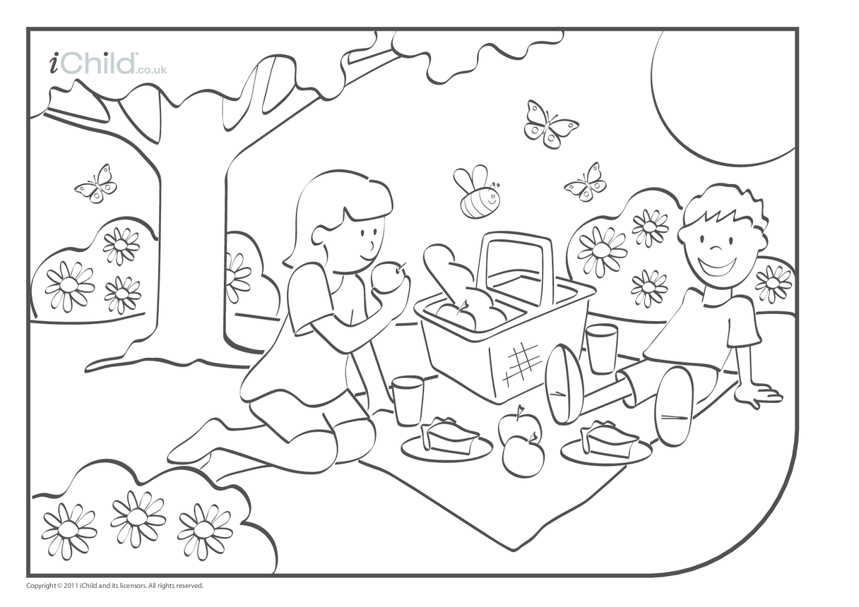 Picnic Colouring in picture