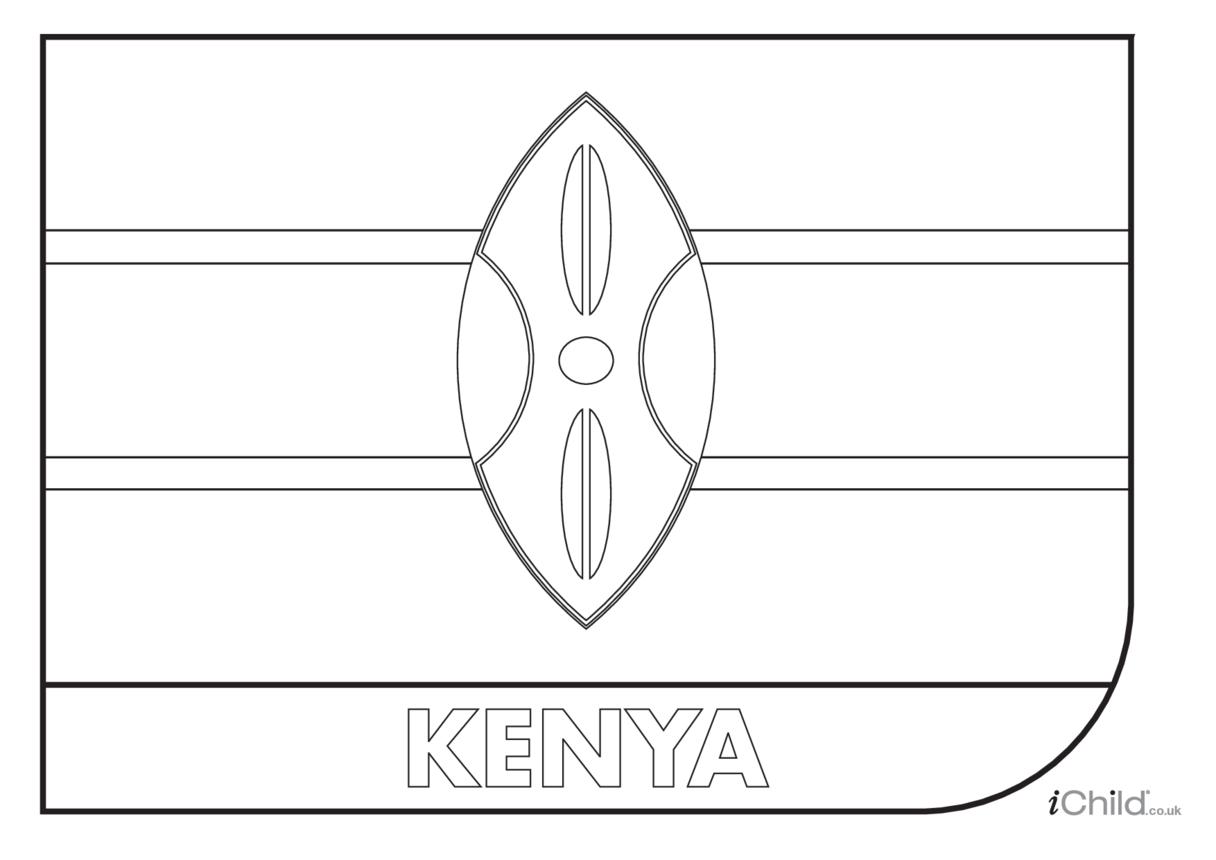 Kenya Flag Colouring in Activity (flag of Kenya)